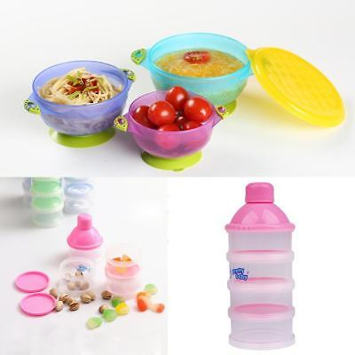 Suction Bowls 3Pieces Set with Lid+Spoon Utensils/Formula Dispenser for Baby Kid