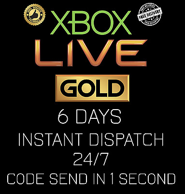 Microsoft Xbox Live 6 Day Trial Code AUTOMATIC INSTANT DELIVERY 24 /7 - 3x 2 Day