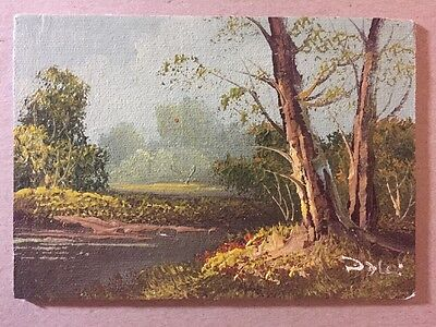 "Original Miniature Oil Painting 1970-1980 signed, unframed, 5"" x 7"""