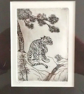Pen and Ink Framed Drawing of Oriental Tiger