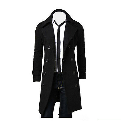 Fashion Winter Men's Slim Stylish Trench Coat Double Breasted Long Jacket XXL