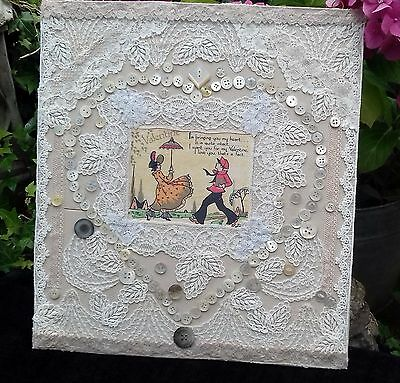 Mixed Media Collage Using lace and buttons