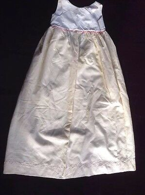Vintage Antique Ivory Cotton Baby Christening Baptism Gown / Embroidered Slip