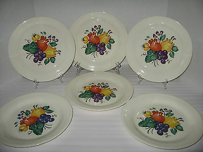 "6 Edwin M Knowles China Semi Vitreous Fruit 9 1/4""  Dinner Plates"