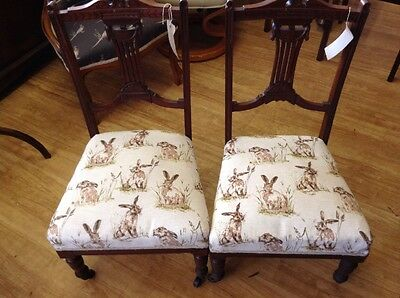 Children's Chair Edwardian Reupholstered In Gorgeous Hare Fabric (2 available)