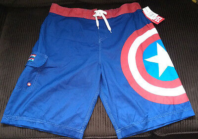 New with tags Marvel Captain America Red White Blue Men's Swim Trunks Size XXL
