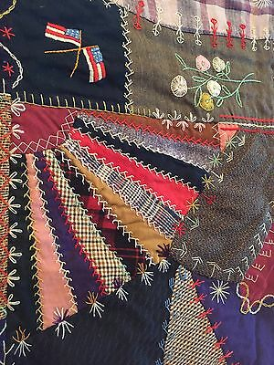 "1898 Antique Embroidered Crazy Quilt Wools Cotton Folk Art Excellent 57"" X 72"""