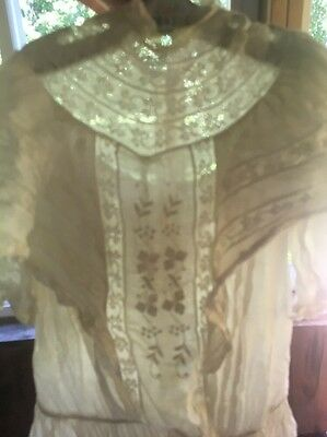 Antique Child's High Neck Button Back Lace Dress Ivory Beautiful