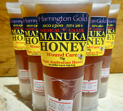 MGO1300  Manuka Honey Australian GENUINE Medical Grade Topical Squeeze Pack 75g