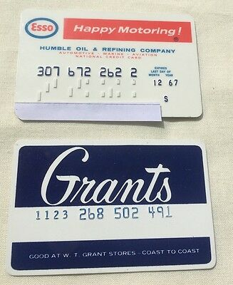 Vintage Collectible Obsolete Credit Cards Esso Oil And WT Grants 1967
