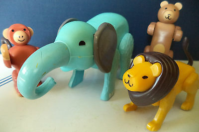 Vintage FISHER PRICE LITTLE PEOPLE JUNGLE ANIMALS ELEPHANT MONKEY LION BEAR