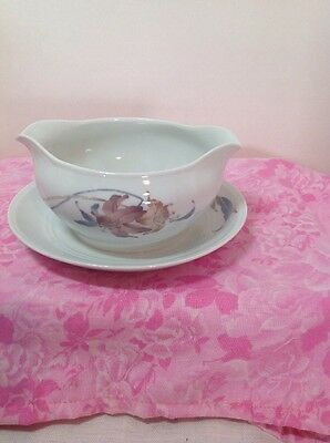 Anatole Fine Porcelain China Japan Gravy Boat With Attached Under Plate