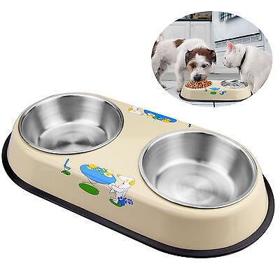 Small pet, dog & cat stainless steel bowls Non-skid feeding dishes Double eating