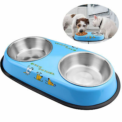 Pet, dog & cat stainless steel bowls Non-skid feeding dishes Double eating Blue