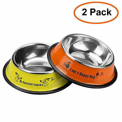 Pet & small dog stainless steel bowls Non-skid feeding dish Puppy eating 2 pack