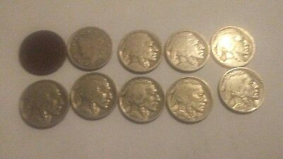 "Lot of 10 US Old Nickels. 8 Buffalo Nickels plus 2 Liberty ""V"" Nickels"