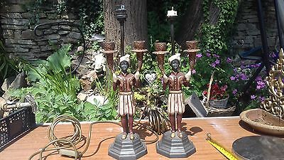 Vintage lamps.metal statuette lights?torchier lamps?rare?clearance not barnfind