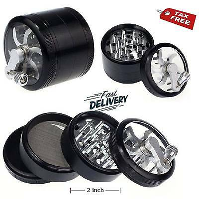 4 Piece 2 Inch Black Tobacco Herb Grinder Spice Herbal Zinc Alloy Smoke Crusher+