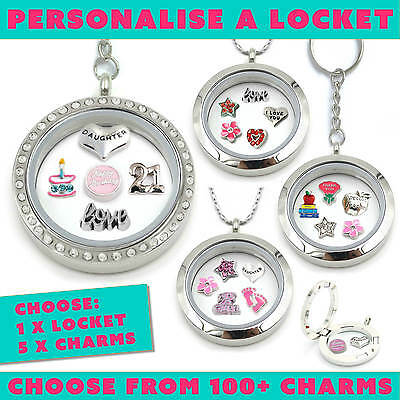 Locket Memory Floating Gift Silver Personalise Keyring Necklace Charms