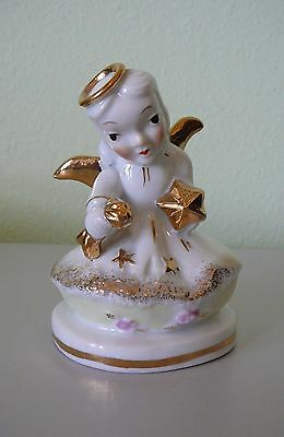 Vintage Angel Holding A Star - Gold Halo and Wings