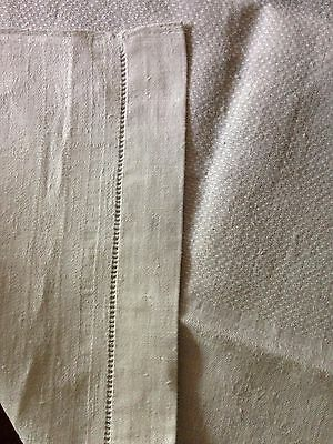 Vintage natural white linen table runner with damask style weave