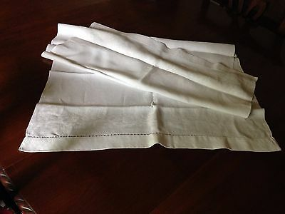 Vintage natural white linen table runner with patterned weave