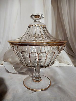 GORGEOUS Vtg Clear Glass Gold Accented TIFFIN Lidded Pedestal Candy Dish H 8""