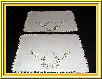 2 Beautiful Vintage Hand Embroidered Linen Tray Cloths Or Doilies Crocheted Trim