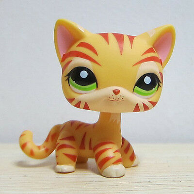 littlest Pet shop LPS Yellow Orange Tiger Cat Kitty Green Eyes Toy