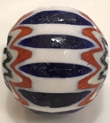 Vintage/Antique? African Trade Bead ~ Glass Large Layered Blue Chevron See Desc.