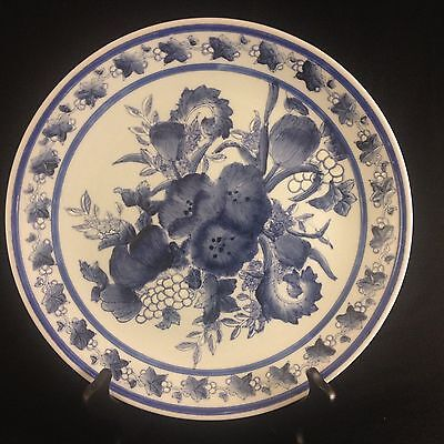"""Chinese Blue and White Flower Plate 10 1/4"""""""