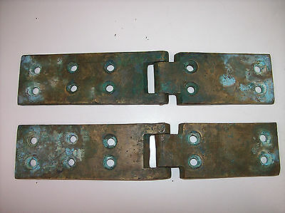 "Antique Bronze Marine Boat Hinges LARGE 9"", 1/4"" Thick - VTG Architectural Hinge"