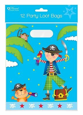 Pack of 12 Large Childrens Birthday Party Plastic Loot Bags - Boys Pirate Party