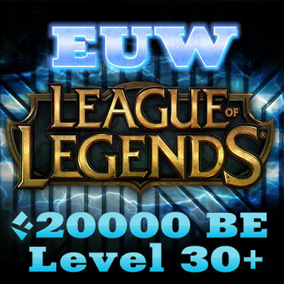League of Legends Account LOL EUW 20K IP Smurf Level 30 Unranked Europe West