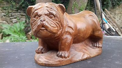 Carved wooden bull dog?
