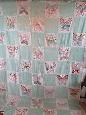 Summer Quilt Hand Sewn & Appliqued Butterfly Pattern Made in Maine, Vintage