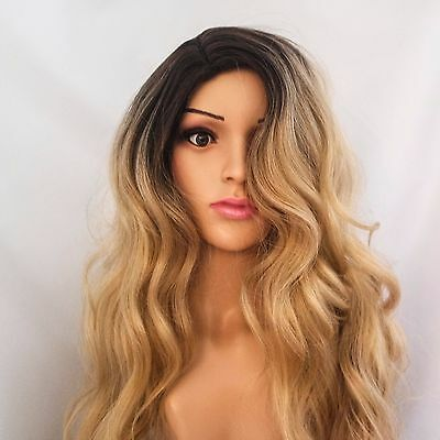 """Synthetic Brown Rooted Honey Blonde Ombre Long Wavy Wig 26"""""""