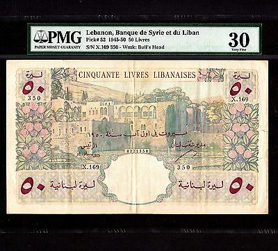 Lebanon, 50 Livres 1950, P-52a * Large Note *