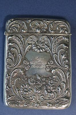 Superb Silver Engraved Antique Card Case Mayall Vic Swindon Birmingham 1907 Vgc