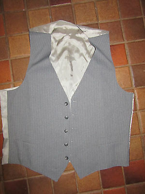 MENS  Victorian Edwardian Sherlock Holmes Dickens gray pinstripe poly  VEST 42 M