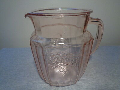 Anchor Hocking Pink Depression Glass Mayfair Open Rose Juice Pitcher 1931-1937