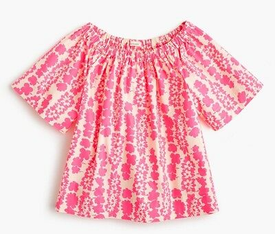 JCrew Crewcuts Toddler Girls Cotton Ruched Top Pink Neon Floral Size 4 4T