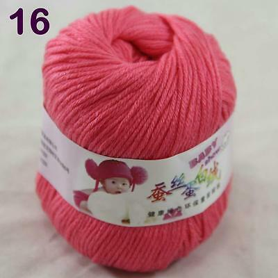 Sale 1ball 50g Baby Cashmere Silk Wool Children hand knitting Yarn 16 Rose pink