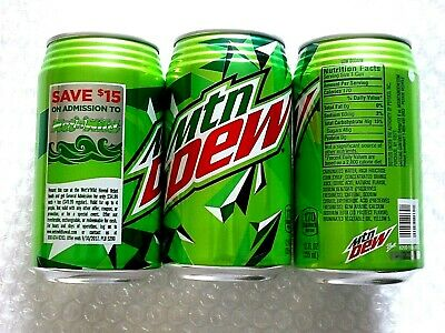 """2017 FULL 12 oz American """"RIBBED"""" Can MTN MOUNTAIN DEW WET N WILD HAWAII  NEW!!"""
