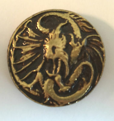 Vintage Sculpted Alien (like) Dragon Medallion B old metal badge