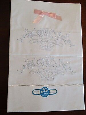 Pillowcases w/Blue Embroidered Baskets of Flowers New Unused ~ Vintage