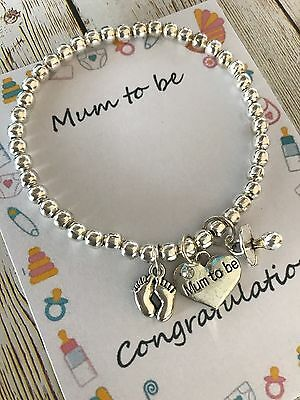 Mum Dad to be pregnancy charm baby shower bracelet gift