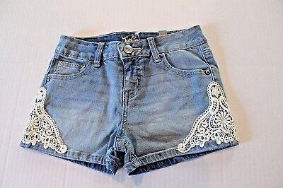 Justice Girl's Blue Denim Crochet Lace Shorts Girl Size 8 Regular NEW