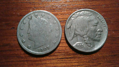 1907 Liberty 'v' Nickel And A 1937-P Buffalo Indian Head Nickel Lot Of Two Coins