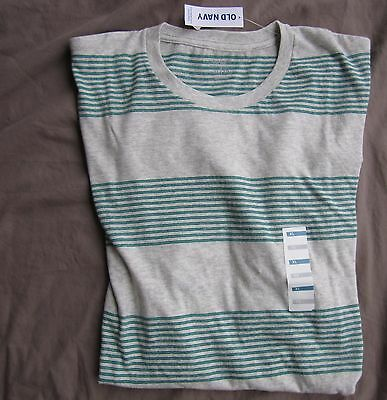 Men T Shirt XL Extra Large Gray Striped Crew Neck Short Sleeves Cotton Old Navy